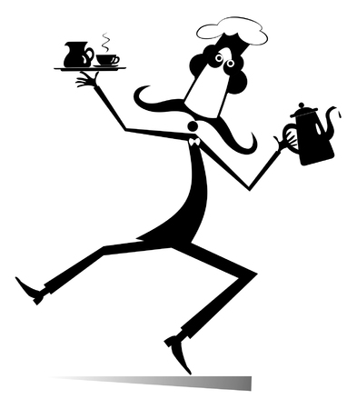 Mustache comic cook isolated illustration. Mustache cook carries a tray with coffee or tea cup and cream in one hand and a tea or coffee pot in another black on white illustration