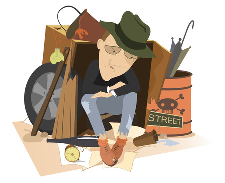 Sad man homeless isolated illustration. Hungry and chilled man sits in the used cardboard box and trash surrounded and thinks about something isolated on white illustration Vector Illustratie