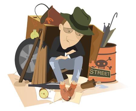 Trauriger Mann obdachlos isolierte Illustration. Hungriger und gekühlter Mann sitzt im gebrauchten Karton und Müll umgeben und denkt an etwas isoliert auf weißer Illustration Vektorgrafik