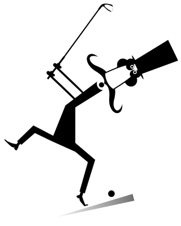Gentleman a golfer isolated illustration. Gentleman with mustache and top hat makes a good kick black on white illustration