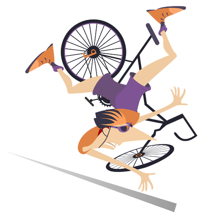 Cyclist falling down from the bicycle isolated illustration. Cyclist falling down from the bicycle isolated on white illustration