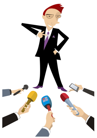 Mass media obtain an interview from cheerful man illustration. Reporters interview a smiling and proud man who points a finger to his chest isolated on white illustration 向量圖像
