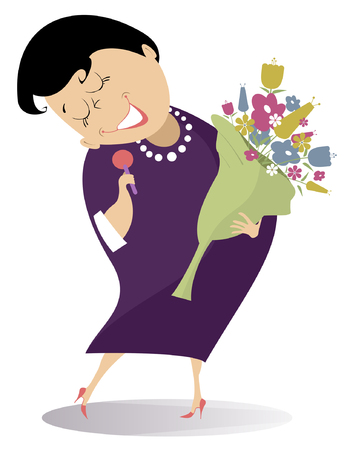 Romantic singer woman isolated illustration. Cartoon woman holding flowers and microphone sings a song with inspiration illustration