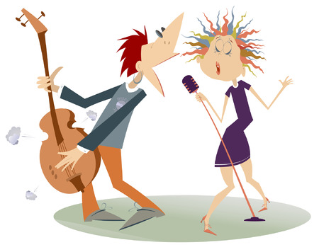 Coppia musicisti, cantante donna e chitarrista uomo illustrazione isolata. Duetto espressivo di donna con un microfono e un chitarrista uomo isolato su bianco illustrazione Vettoriali