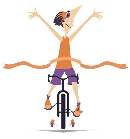 El hombre de dibujos animados monta una bicicleta y gana la carrera de ilustración aislada. Hombre sonriente en casco monta una bicicleta y termina con una cinta ganadora aislada en blanco