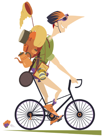 Traveler man rides a bike isolated illustration. Smiling traveler in helmet with rucksack and outfit rides a bike and looks healthy and happy isolated on white illustration