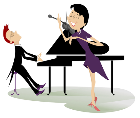 Couple musicians play music on violin and piano isolated illustration. Duet of violinist woman and pianist man isolated illustration