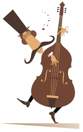 Cartoon long mustache cellist isolated on white illustration