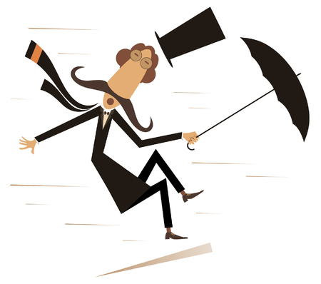Strong wind, mustache man in the top hat with umbrella isolated illustration. Strong wind and a long mustache man lost his hat and try to keep an umbrella black on white illustration