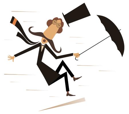 Viento fuerte, hombre de bigote en el sombrero de copa con paraguas ilustración aislada. El viento fuerte y un hombre de bigote largo perdió su sombrero y trataron de mantener un paraguas negro sobre blanco ilustración