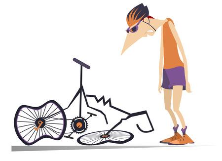 Radfahrer und ein gebrochenes Fahrrad isolierte Illustration. Trauriger Radfahrer, der nahe einem gebrochenen Fahrrad mit niedergeschlagenem Kopf und Händen lokalisiert auf weißer Illustration steht