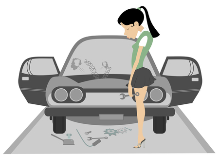 Sad young woman and broken car illustration. Upset woman with head down and wrench in the hand stands near a broken the car isolated illustration