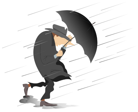 Strong wind, rain and man with hat and umbrella isolated illustration. Whirlwind, rain and man with umbrella keeps hat by the hand isolated on white illustration