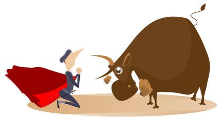 Cartoon Stierkämpfer und verärgerte Stierillustration. Cartoon Stierkämpfer mit Matador Umhang und Schwert steht im Knie vor dem wütenden Stier und betet um Gnade auf weißer Illustration isoliert