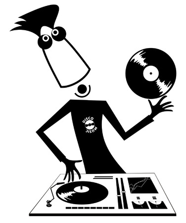 Cartoon funny DJ illustration. Smiling DJ performing music on the control panel black on white illustration