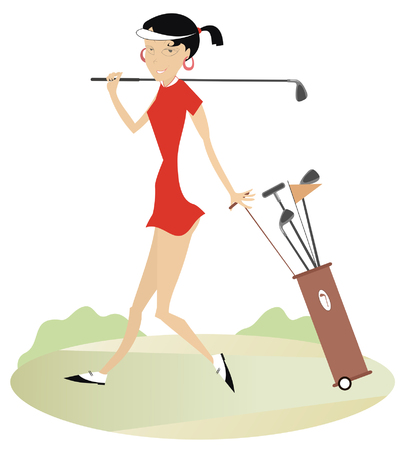 Woman golfer on the golf course illustration.  Smiling woman with golf club and golf bag goes to play golf illustration