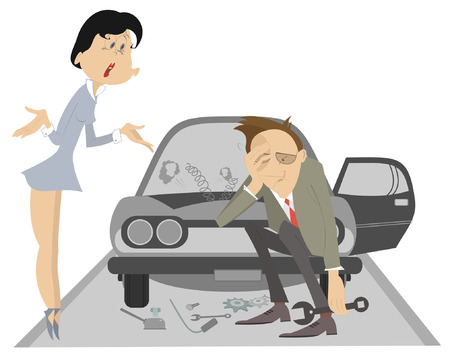 Sad man, angry woman and broken car illustration. Upset woman asks the man to do something with the broken car isolated illustration