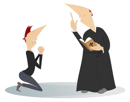 Priester und Gebetsmann in der Knieillustration. Der Mensch betet in den Knien und ein predigender Priester mit einem auf weißer Illustration isolierten Gebetbuch Vektorgrafik