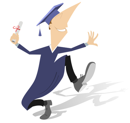 Happy adult student or professor in mortarboard with diploma illustration. Academic dressed professor or student in mortarboard holds a paper roll tied up by the red ribbon