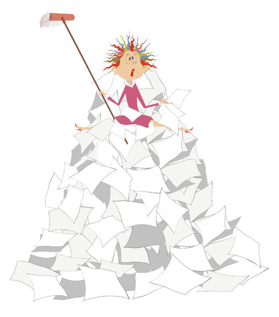 Tired woman, brush and big pile of papers illustration.  Tied tidying up woman with a brush sits on the big pile of papers illustration Illustration