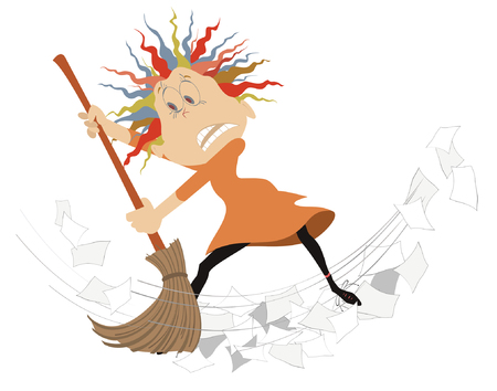 Cartoon woman tidying up illustration. Cartoon angry woman sweeps papers using a big broom isolated on white