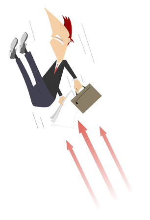 Businessman and arrow signs concept illustration. Upset man with bag and papers falling down on the sharp arrows isolated on white