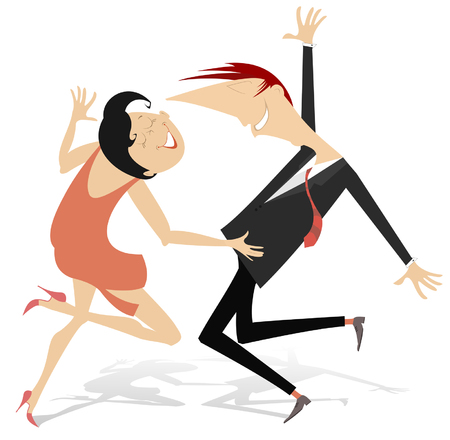 Funny dancing young couple isolated. Romantic dancing man and woman cartoon illustration Ilustrace