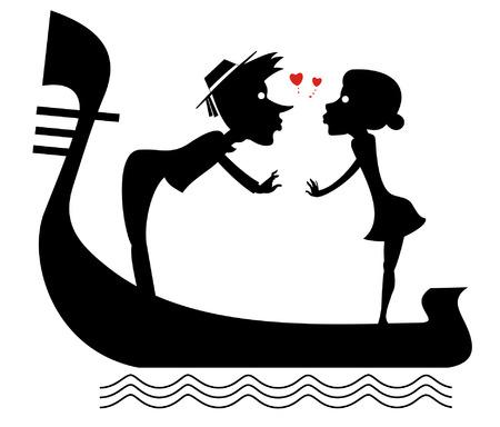 Man, woman, love, heart symbols and gondola illustration. Funny gondolier and woman fall in love and ride on gondola black on white isolated illustration Vektorgrafik