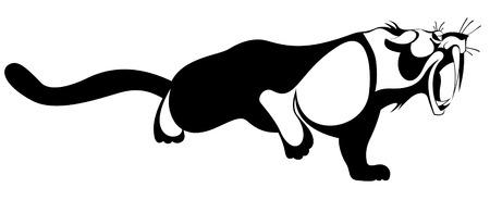 Tiger or panther original art illustration. Fierce tiger or panther black on white original illustration Illustration