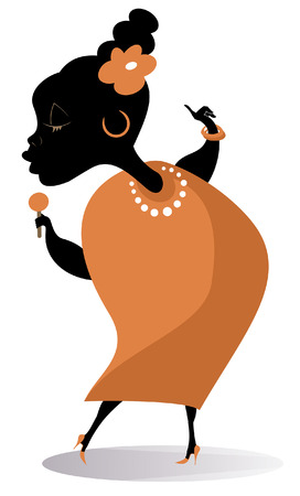 Romantic African singer woman isolated illustration. African woman with a microphone sings a song with inspiration illustration
