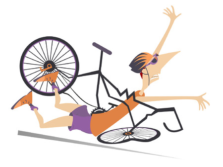 Cyclist falling down from the bicycle isolated illustration. Cyclist falling down from the broken bicycle isolated on white illustration