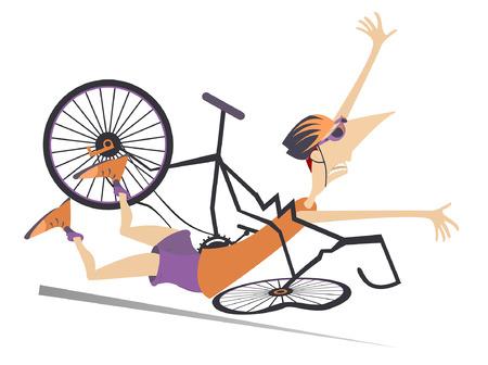Cycliste tombant de l'illustration isolée de la bicyclette. Cycliste tombant du vélo cassé isolé sur blanc illustration