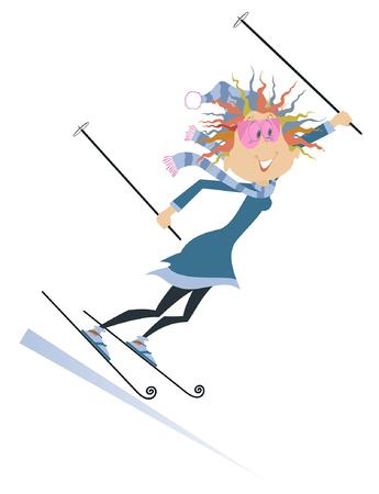 Skier woman isolated illustration. Cartoon skier woman isolated on white illustration