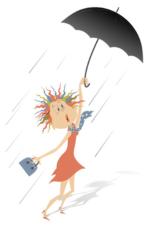 Strong wind, rain and woman with umbrella illustration. Cartoon frightened woman with umbrella and fancy bag gone with the wind isolated on white illustration Illustration