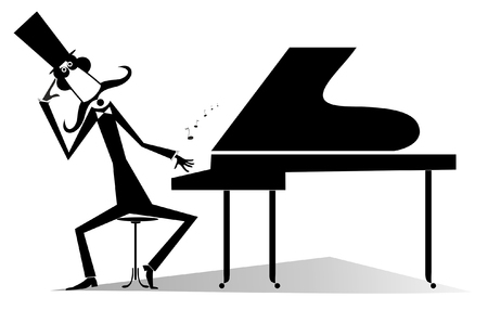 Thinking pianist or composer and piano isolated illustration.  Mustache pianist or composer in the top hat sits near the piano black on white illustration