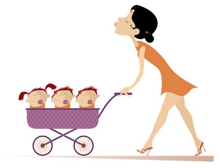 Junge Frau mit Kindern in der Kinderwagenillustration. Fröhliche junge Mutter trägt einen Kinderwagen mit drei Kindern isoliert auf weißer Illustration