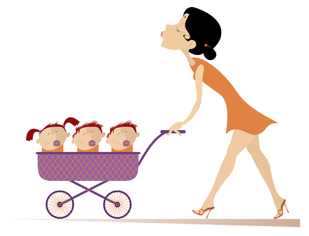 Young woman with children in the stroller illustration. Cheerful young mother carries a stroller with three children in isolated on white illustration
