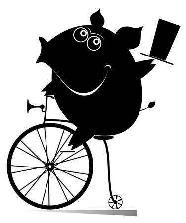Cartoon pig rides a vintage bike illustration. Smiling cute piggy with top hat rides a penny farthing and looks healthy and happy black on white illustration