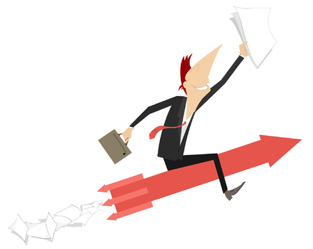 Businessman rides on an arrow sign concept illustration. Smiling man with papers and bag flies sitting on the arrow sign isolated on white