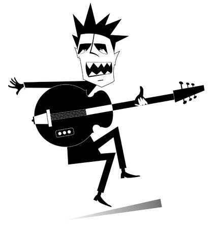 Cartoon guitar player isolated illustration. Expressive guitarist is playing music and singing with the great inspiration black on white illustration