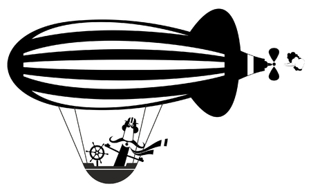 Funny mustache man on the airship illustration.  Cartoon mustache man flies on the airship black on white illustration