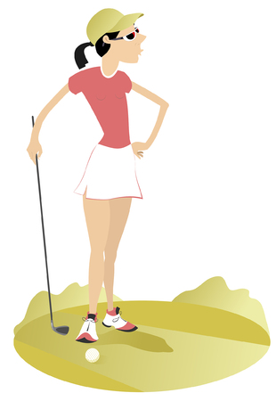 Woman golfer on the golf course illustration.  Young woman with golf club on golf illustration Illusztráció