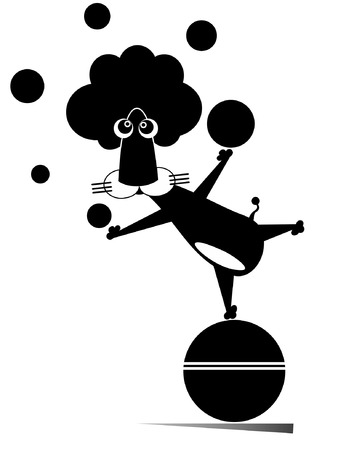 Lion juggling with balls isolated illustration. Cartoon lion balances on the ball and juggles black on white illustration Vectores