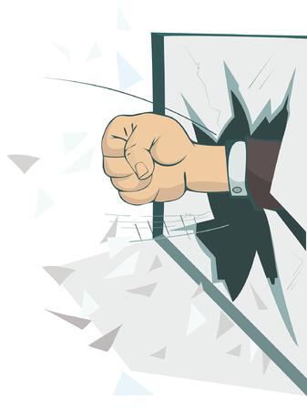 Fist breaks the window isolated illustration. Fist appears from the broken window isolated on white