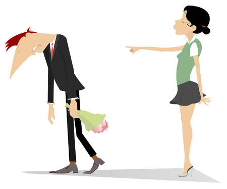 Quarrel between man and woman illustration. Young woman points to go out the man with a bunch of flowers isolated on white Vectores