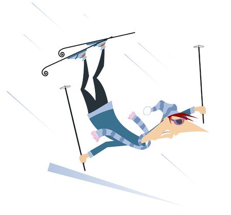 Illustration isolée de l'homme skieur. Tomber l'homme de skieur de dessin animé isolé sur l'illustration blanche