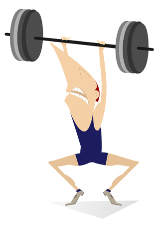 Cartoon man weightlifter illustration. Cartoon strong man is trying to lift a heavy weight isolated on white 向量圖像