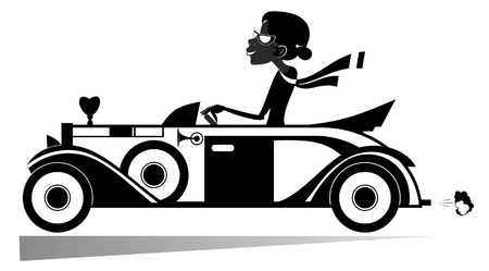Pretty woman drives car illustration. Elegant young woman drives a cabriolet black on white