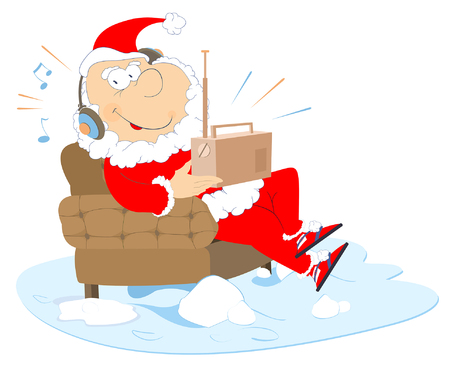 Listening the radio Santa Claus illustration. Smiling Santa Claus sits in an armchair and listens the radio illustration