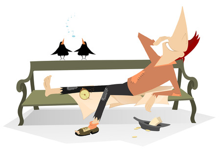 Cheerful beggar lies on the bench illustration. Smiling man with bare foot and a broken boot on another, hat with small change lies on the bench, listens birds and looks happy isolated on white Illustration